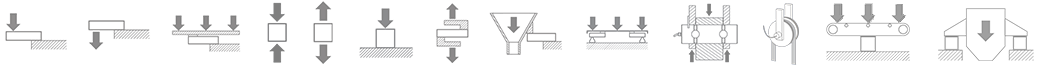 Technical diagrams of load cells and weighing accessories