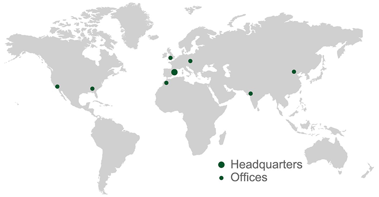 World map indicating utilcell headquarters and offices