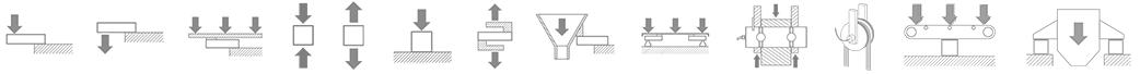 Esquemas técnicos de las celulas de carga y accesorios de pesaje