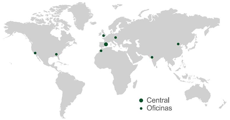 Mapa del mundo indicando las sedes y oficinas de utilcell